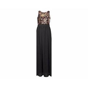 Vestido Largo Fiesta Noche Negro Tinto 902074 Talla Ch