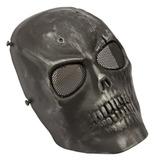4b57a6dc028f5 Máscara De Airsoft Caveira Preta Cromo Com Tela De Proteção