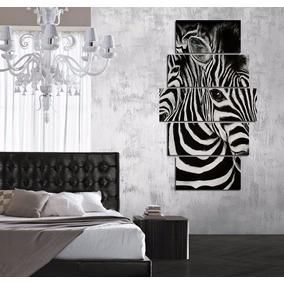 Cuadro Poliptico Cebras Animal Print Animales 100x60cm Total
