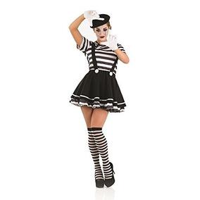 Pierrot Clown Mime Artiste Traje De Disfraz Femenino - S (u