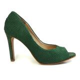 Peep Toe Feminino Sapato Sapatilha Salto Alto Verde Promoção