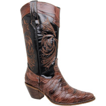 Bota Country Feminina Texana Lady Silver Escamada Couro Crus