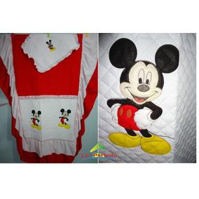Colcha Solteiro Mickey Mouse -matelada Babado Duplo Bordada