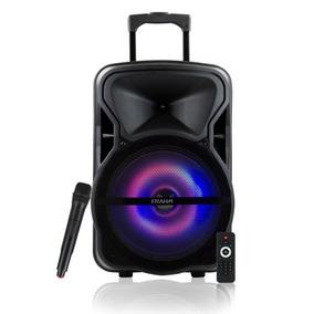Caixa De Som Amplificada Com Bateria Controle E Microfone