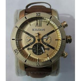 Relógio Bvlgari Crono Dourado Cx. Mista Pulseira De Couro.