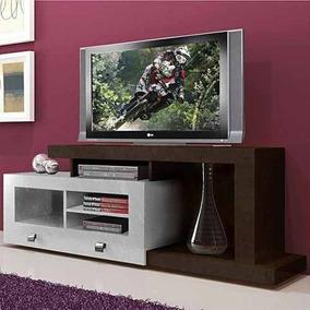 Rack Para Tv Até 52´´ Multivisão Evolution Tabaco C/ Branco