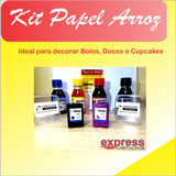 Kit 122 P/c + 200 Uni Papel Arroz +kit Tinta Comestivel