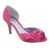 Sapato Peep Toe Cetim Pink Laço Com Strass Prata Festa