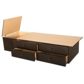 Base Sommier Box Cama 1 1/2 Plazas 4 Cajones Y 1 Baulera