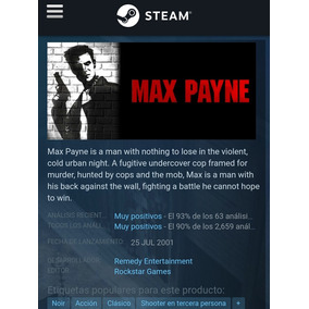 Max Payne - Steam Key Original - Pc - Oferta