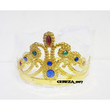 Corona De Reyna Princesa Dorada Con Gemas Cotillon Luminoso