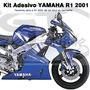 Adesivo P/ Moto Yamaha R1 2001 Azul Material Importado