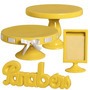 Kit Para Festa Infantil Com Boleiras E Acessórios Amarelos
