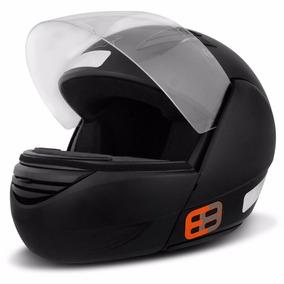 Capacete Ebf E8 Articulado Robocop Branco Preto Fosco
