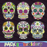 Calaveras Mexicanas Set 6 Diseños Bordados Patrones Brother