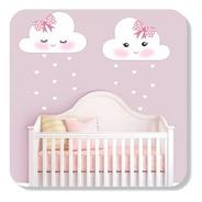 Adesivo Decorativo Nuvens Fofas  Corações Brancos Infantil