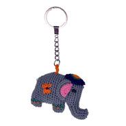 Llavero Tejido Elefante Gris Oscuro
