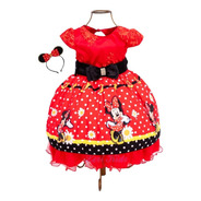 Vestido Minnie Vermelha Vermelho Luxo + Tiara