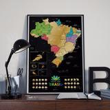 Quadro Mapa Mundi Do Brasil Para Raspar, Escrever E Apagar