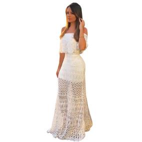 Vestido Longo Feminino Tricot Tricô Rendado Ombro A Ombro