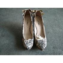Sapato Scarpin Lara Costa Meia Pata Onça Marrom-tamanho 37