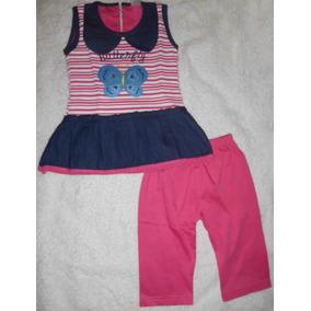 Vestido Niña Pantalón Mariposa Rosado Jeans Ropa Bebe Camisa