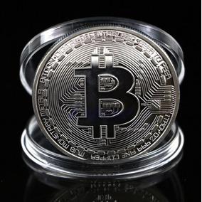 Bitcoin Moeda Física Colecionador Banhada Prata Case - Rav73