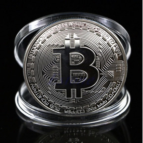 Bitcoin Moeda Física Comemorativa Banhada Prata -renatoalves