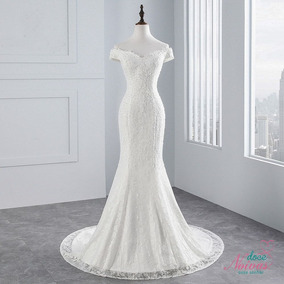 Vestido Noiva Alça Ombro Sereia Off White