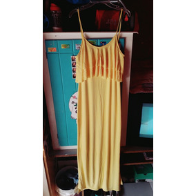Vestido Largo Amarillo Con Tajos.