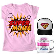 Combo Super Mamá Playera Día De Las Madres + Taza + Gorra