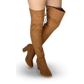 Botas Extra Largas Mujer Tacon 8 Altas Rodilla 58cm Doblez