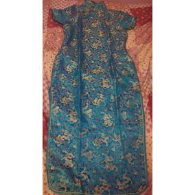 Vestido Azul Com Dourado Japonês