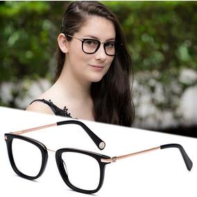 3e94736634dde Armação Oculos P  Grau Feminino Cr17 Acetato Metal Original · R  120
