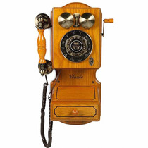 Telefone Retrô Vintage Antigo Fio Classic Bell Madeira