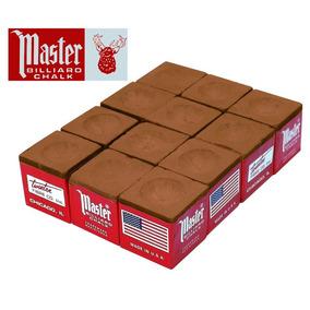 Giz Master Marrom 12 Pçs Para Taco De Bilhar Sinuca (10916)