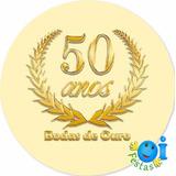 160 Adesivo Bodas De Ouro Lembrancinha Pronta Entrega