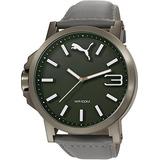 Puma Pu Motorsport Verde Gris Ultrasize 3hd Reloj Del Cuero