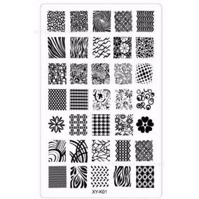 Placa Para Carimbo De Unhas Com 35 Desenhos De Unha Inteira