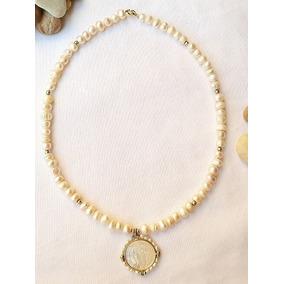 Collar Perlas, Oro Laminado 14k, Medalla San Benito Concha