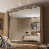 Guarda Roupa Casal Com Espelho 3 Portas De Correr Campo E
