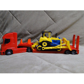 Caminhão Prancha Brinquedo E Trator Esteira D11 Bulldozer