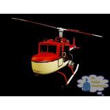 Helicoptero Rojo Clasico Escala Vintage Retro Metal