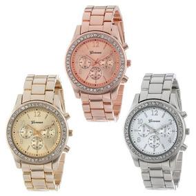 Relógio Feminino Geneva Dourado Rose Prata Aço Stras Promoçã