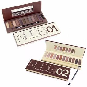 Kit 2 Paletas 24 Sombras Maquiagem Pincel Nude Vivai=naked