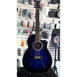 Guitarra Electroacustica Azul Tipo Ovation Con Boca.