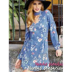 Vestido Azul Cielo Con Flores Y Gargantilla, Moda Club