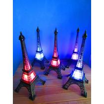 12 Torres Francia Eiffel De Metal 18 Cm Luz Led Multicolor