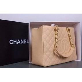Bolsa Chanel Shopper Gst Bege 100% Original Couro Na Caixa