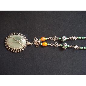 Collar De Jaspe Auricular,alpaca,cristal Murano Y Chaquirón.